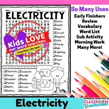 Electricity Activity Electricity Word Search Electricity Vocabulary 229311 on Music History Worksheets