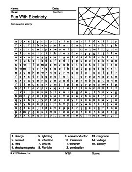 Electricity Word Search Printable