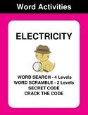 Electricity - Word Search, Word Scramble,  Secret Code,  C