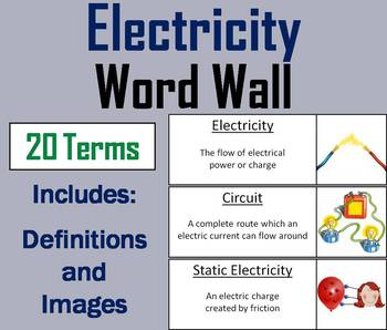 Electricity Word Wall Cards (Electrical Circuits, Insulators and ...