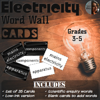 Electricity Word Wall Cards - Grades 3, 4 & 5