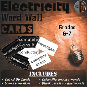 Electricity Word Wall Cards - Grades 6 & 7