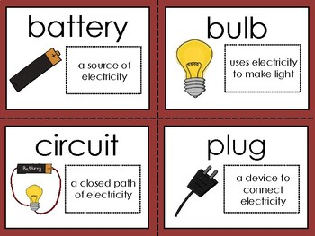 Electricity Words Color, Cut and Glue Dictionary