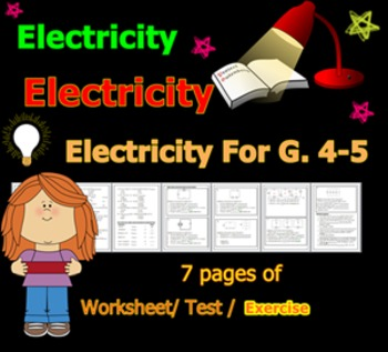 Electricity Worksheet / Test / Exercise for G.4-5
