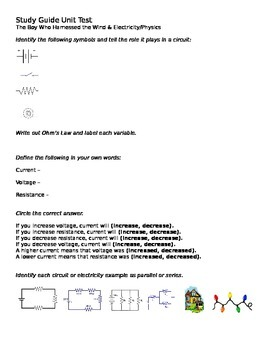 Electricity and Circuits Review AND Boy Who Harnessed Wind Essay