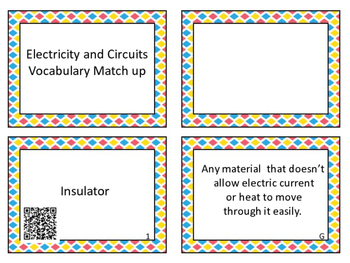 Electricity and Circuits Vocabulary Match Up with and without QR codes