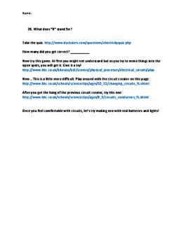 Electricity and Circuits Webquest -- FREEBIE