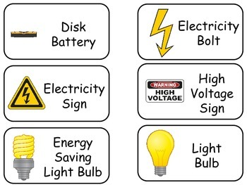 Electricity and Circuits printable Flash Cards. Preschool Science flashcards.