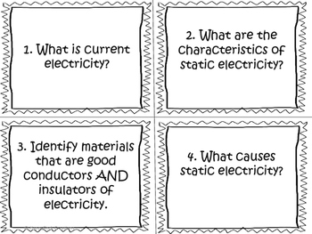 Electricity and Electrical Devices Task Cards