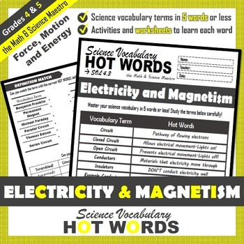 4th Grade Science Hot Words: Electricity and Magnetism Vocabulary + Activities!