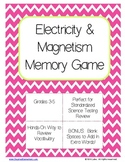 Electricity and Magnetism Memory Game Freebie!