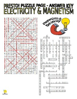 Electricity and Magnetism Puzzle Page (Wordsearch and Criss-Cross)