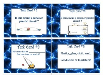Electricity and Magnetism Task Cards -Science