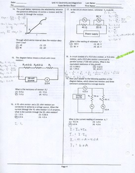 Electricity and Magnetism Unit Exam Review Sheet Answer Key