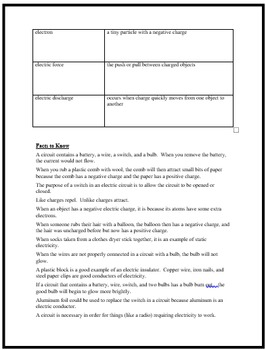 Electricity and Magnetism Unit Study Guide Fifth Grade