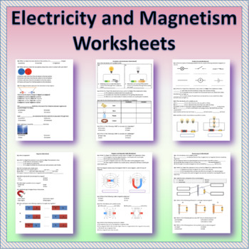 Electricity and Magnetism   Worksheets   Distance Learning ...
