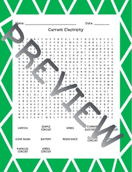 Electricity and Magnetism Word Searches