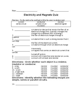 Electricity and Magnets Quiz