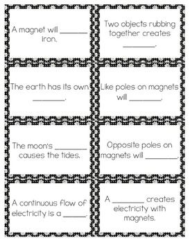 Electricity and Magnets Vocabulary Review Snap-It! Card Game