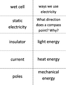 Electricity flash cards