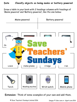 Electricity - mains or battery powered Lesson plan and Worksheet