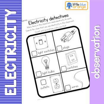 Electricity Observation Worksheet By Little Blue Orange Tpt