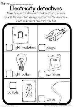 Electricity observation worksheet
