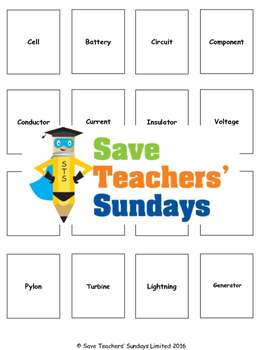 Electricity scientific terminology / vocabulary Lesson plan and Cards for game