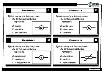 Electricty Task Cards
