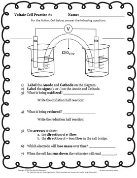Electrochemistry Voltaic Cell Practice Worksheet by The ...