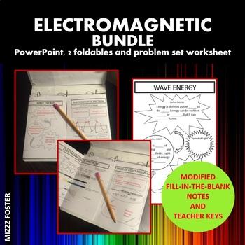 Electromagnetic Bundle: Power point, 2 foldables, visible light worksheet