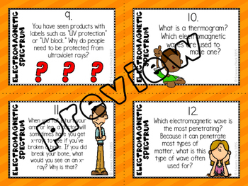 Electromagnetic Spectrum Task Cards - with or without QR codes