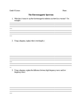 Electromagnetic Spectrum Worksheet