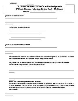 Electromagnetism Guided Notes (DUAL LANGUAGE SPANISH)