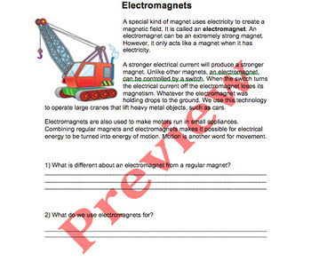 Electromagnets Passage with Questions