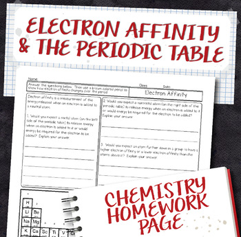 Electron Affinity Periodic Table Trend Chemistry Homework Worksheet