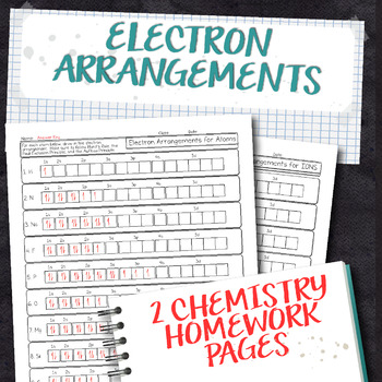 Electron Arrangements of Atoms and Ions Chemistry Homework Worksheet