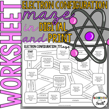 Electron Configuration Maze Worksheet for Review or Assessment