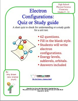 Electron Configuration Worksheet Teaching Resources | Teachers Pay ...