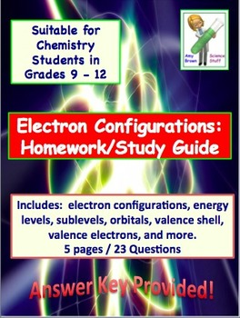 Electron Configuration Worksheet and Study Guide for Chemistry | TpT