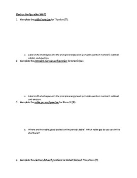 Electron Configuration Worksheet 3 by A W | Teachers Pay Teachers