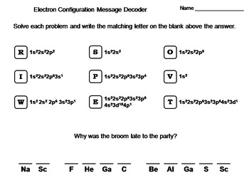 Electron Configuration Worksheet: Chemistry Message Decoder