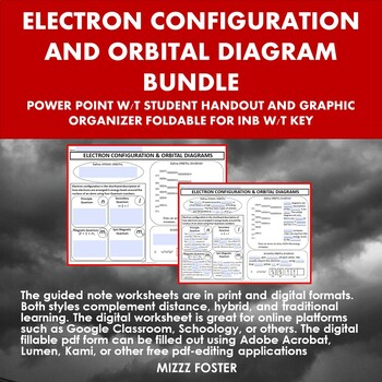 Electron Configuration and Orbital Diagram Bundle: Ppt and Graphic Organizer