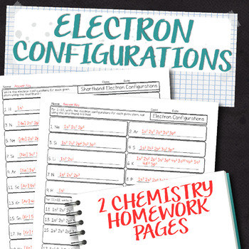 Electron Configurations Chemistry Homework Worksheets