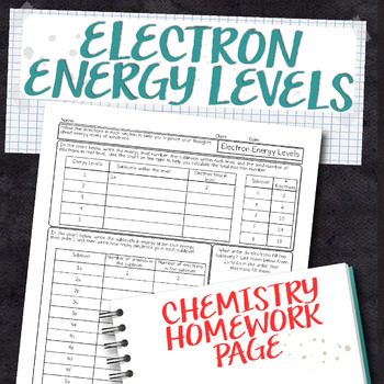 Electron Energy Levels Chemistry Homework Worksheet by Science With ...