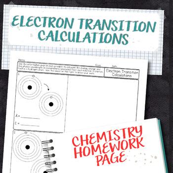 Electron Transition Calculations Chemistry Homework Worksheet
