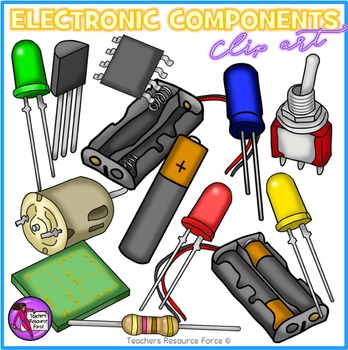 Electronic Components and circuit symbols clip art