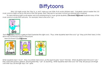 Electronic BiffyToons Sight Word Game