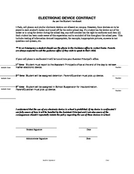 Electronic Device Contract for Administrators