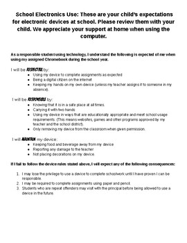 Electronic Device Student Contract